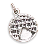 Oxidized Pie with Missing Slice Charm 925 Sterling Silver - DISCONTINUED