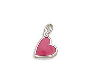 Hot Pink Enamel Heart Charm 925 Sterling Silver