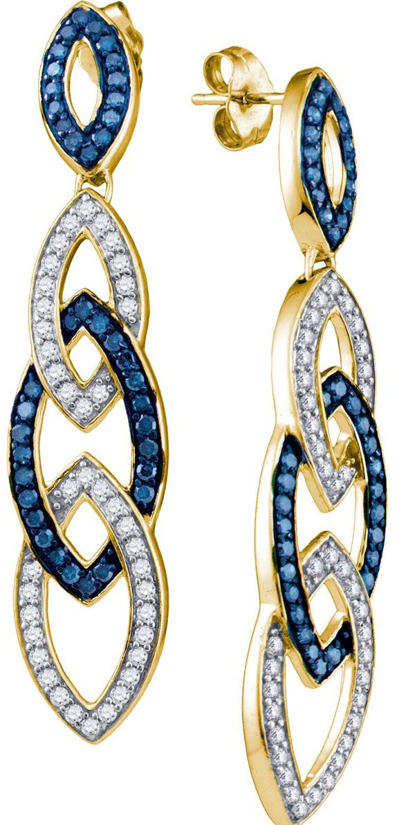 1.45ctw Blue Diamond Fashion Earrings 10K Yellow Gold