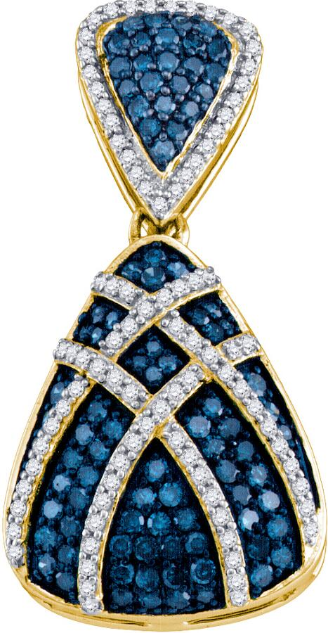 0.95ctw Blue Diamond Fashion Pendant 10K Yellow Gold