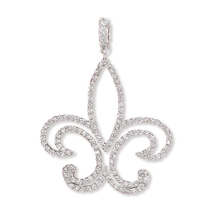 Rhodium Plated Cut Out Fleur- de -Lis CZ Pendant 925 Sterling Silver - DISCONTINUED