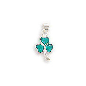 Green Epoxy Shamrock Pendant 925 Sterling Silver