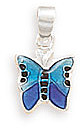 Blue Epoxy Butterfly Pendant 925 Sterling Silver