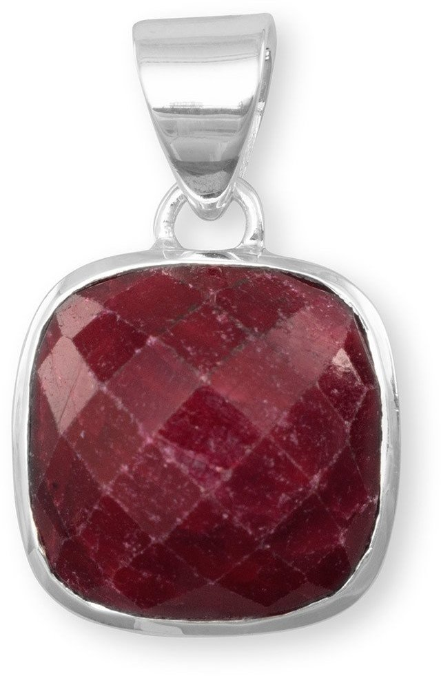 Square Faceted Rough-Cut Ruby Pendant 925 Sterling Silver