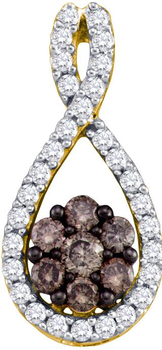0.39ctw Brown Diamond Fashion Pendant 10K Yellow Gold 37 Diamonds
