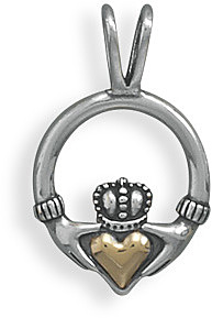 Sterling Silver and 14 Karat Gold Claddagh