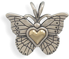 Sterling Silver and 14 Karat Gold Butterfly Pendant - DISCONTINUED