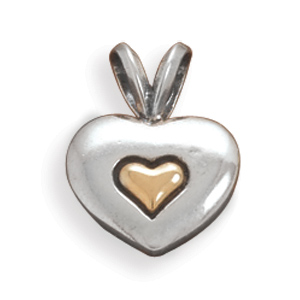 14 Karat Gold and Sterling Silver Heart Pendant - LIMITED STOCK