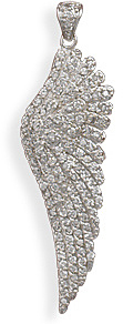 Rhodium Plated CZ Angel Wing Pendant 925 Sterling Silver