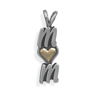 "Sterling Silver and 14 Karat Gold ""MOM"" Pendant - DISCONTINUED"