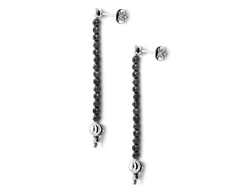 Officina Bernardi - Moon Collection - Black & White Earrings - Italian 925 Sterling Silver