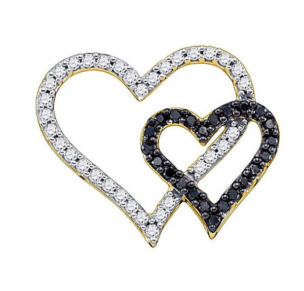 0.53ctw Black Diamond Heart Pendant 10K Yellow Gold