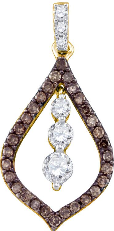 0.53ctw Brown Diamond Fashion Pendant 10K Yellow Gold