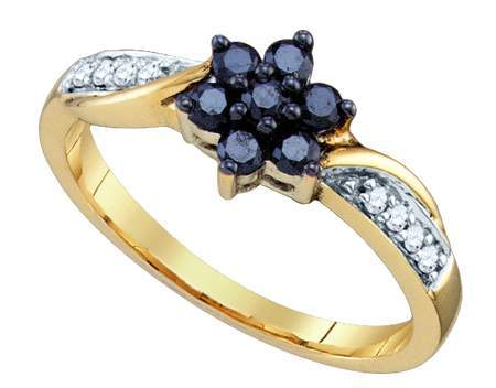 0.34ctw Black Diamond Fashion Ring 10K Yellow Gold w/ 15 Diamonds