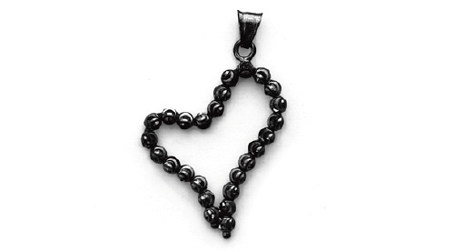 Officina Bernardi - Pendant Collection - Black Heart - Italian 925 Sterling Silver