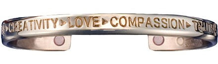Compassion Silver - Sergio Lub Copper Magnetic Therapy Bracelet - Made in USA! (lub774) - New!