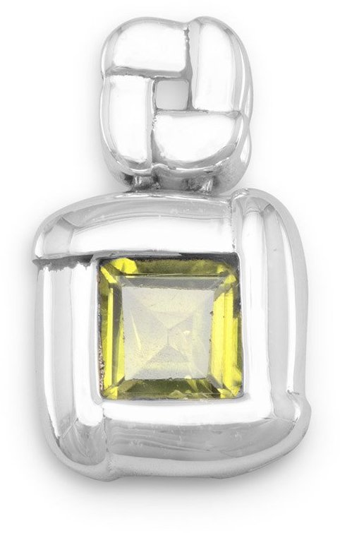 "6mm (1/4"") Square Peridot Overlapped Edge Pendant 925 Sterling Silver"