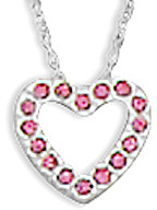 "16"" Floating Heart Pink CZ Slide 925 Sterling Silver"