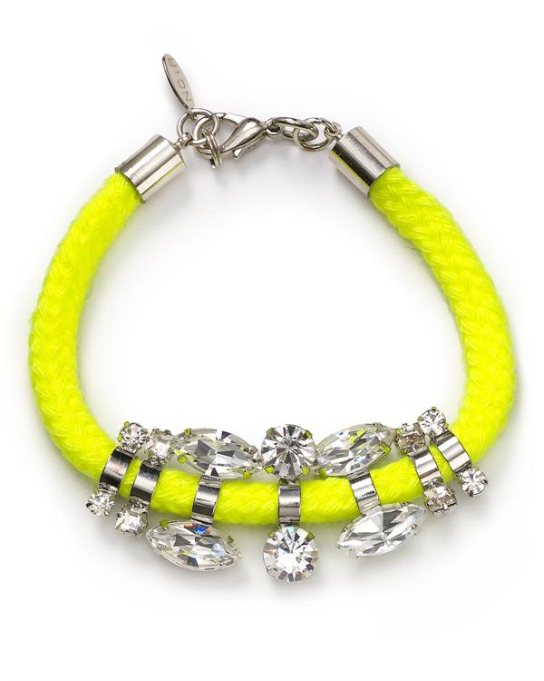nOir Jewelry - Sahota - Thin Cord & CZ Bracelet in Neon Yellow - DISCONTINUED