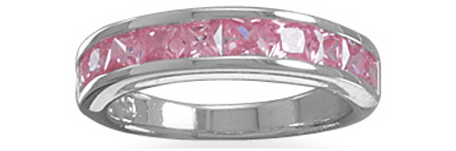 Rhodium Plated 10 Square Pink CZs Ring 925 Sterling Silver
