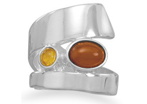Multicolor  Amber Wrap Around Ring 925 Sterling Silver - DISCONTINUED