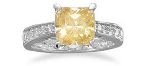 Rhodium Plated Ring with Yellow 8x8 CZ and Graduated CZ Band 925 Sterling Silver