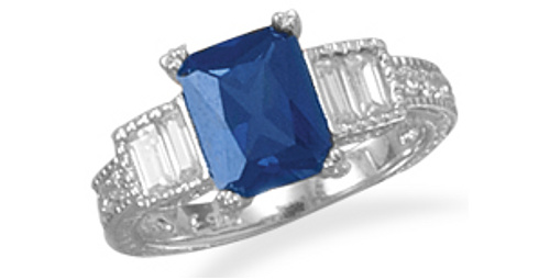 Rhodium Plated Dark Blue CZ Rectangle with Baguette Sides Ring 925 Sterling Silver