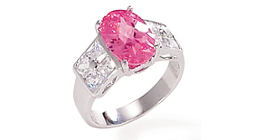 Rhodium Plated Ring with Pink 8x13 Oval CZ and Square (8) CZ Sides 925 Sterling Silver