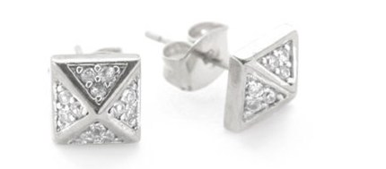 nOir Jewelry - Solid Brass Rhodium Plated Small Square Pave CZ Earrings
