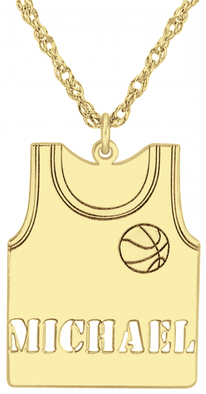 Alison & Ivy - Basketball Jersey w/Ball Necklace 23x17mm - Customizable Jewelry Collection