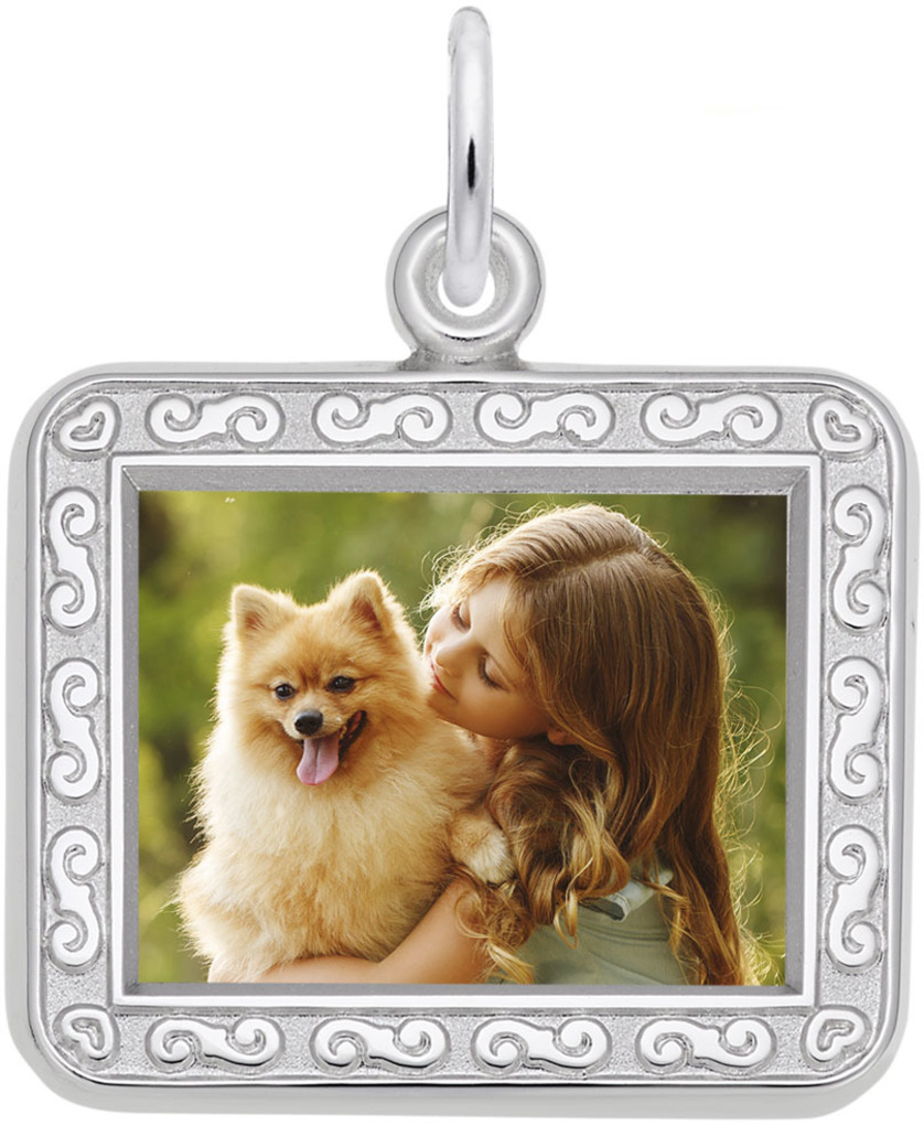 Rembrandt Horizontal Rectangle w/ Scroll Frame PhotoArt Charm (Choose Metal)