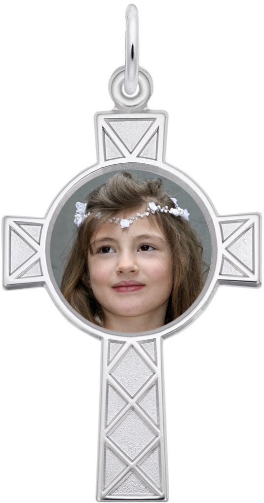 Rembrandt Celtic Style Cross PhotoArt Charm (Choose Metal)