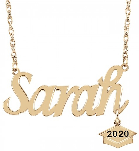 Alison & Ivy - Graduation Name Plate w/ Dangle Necklace - Customizable Jewelry Collection
