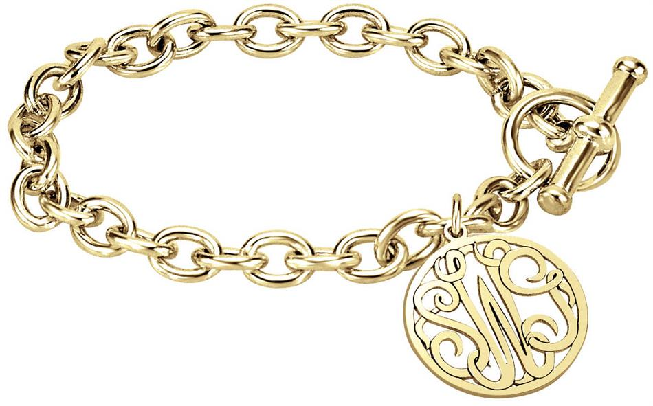 "Alison & Ivy - Classic Bordered Monogram 7"" Toggle Bracelet 20mm - Customizable Jewelry Collection"