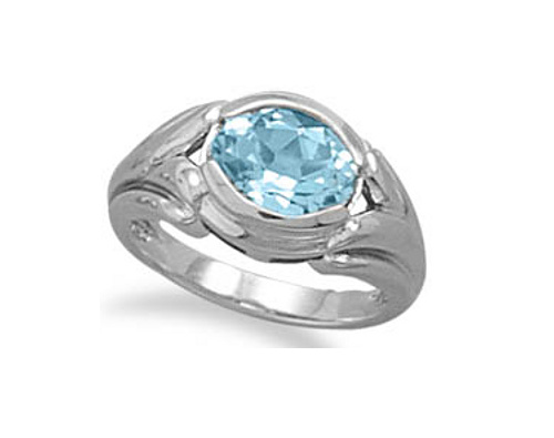 Oxidized Oval Blue Topaz Ring 925 Sterling Silver