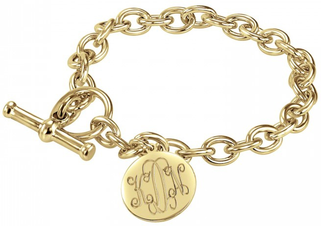 "Alison & Ivy - Traditional Monogram Disc 7"" Toggle Bracelet 16mm - Customizable Jewelry Collection"