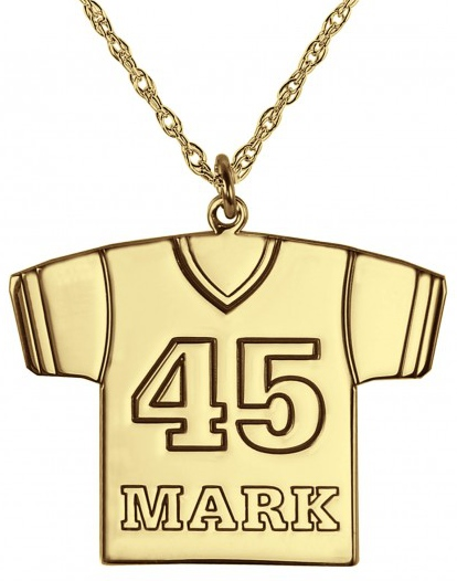 Alison & Ivy - Football Jersey Necklace 23x17mm - Customizable Jewelry Collection