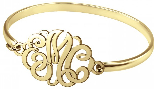 "Alison & Ivy - Classic Monogram 7"" Bangle Bracelet 22x33mm - Customizable Jewelry Collection"