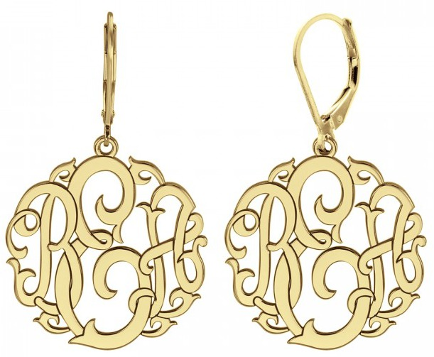 Alison & Ivy - Classic Rose Thorn Monogram Leverback Earrings 20mm - Customizable Jewelry Collection