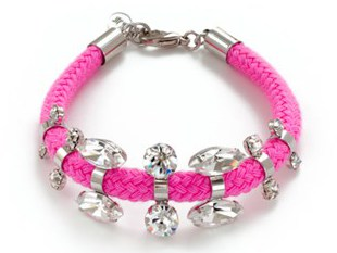 nOir Jewelry - Sahota - Thin Cord & CZ Bracelet in Neon Pink - DISCONTINUED