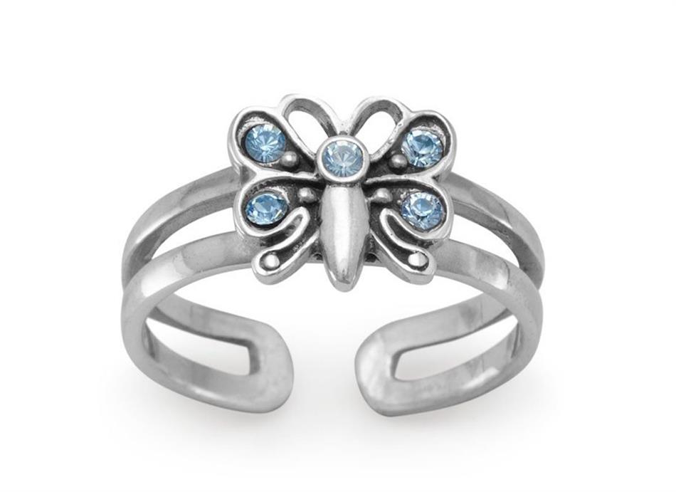 Butterfly with 5 Crystals Toe Ring 925 Sterling Silver