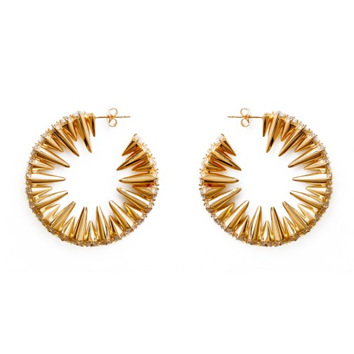nOir Jewelry - Mini Punk Hoops - Gold Plated Brass