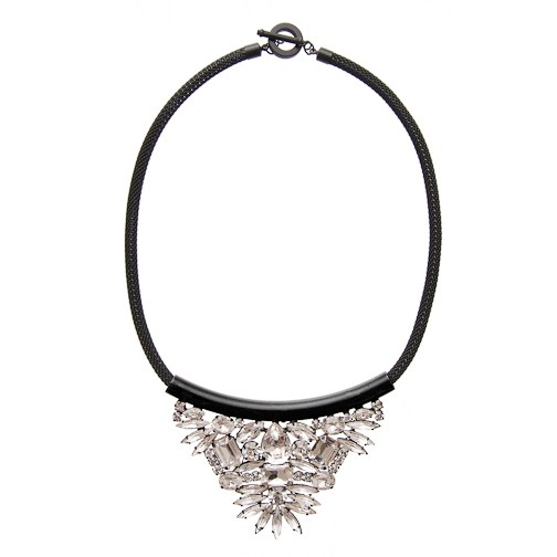 nOir Jewelry - Large Cluster Nightfall Necklace - Clear - DISCONTINUED