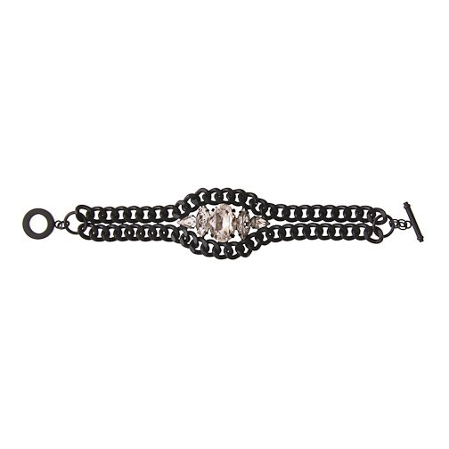 nOir Jewelry - Chain and Glass Nightfall Bracelet - Clear - DISCONTINUED
