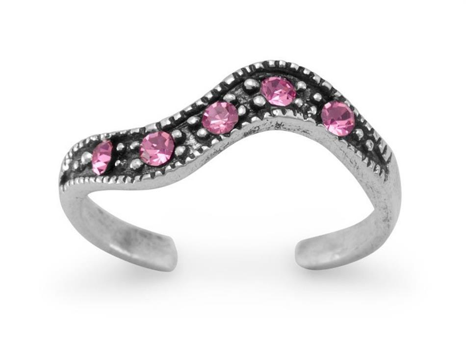 Oxidized Toe Ring with Pink Crystals 925 Sterling Silver