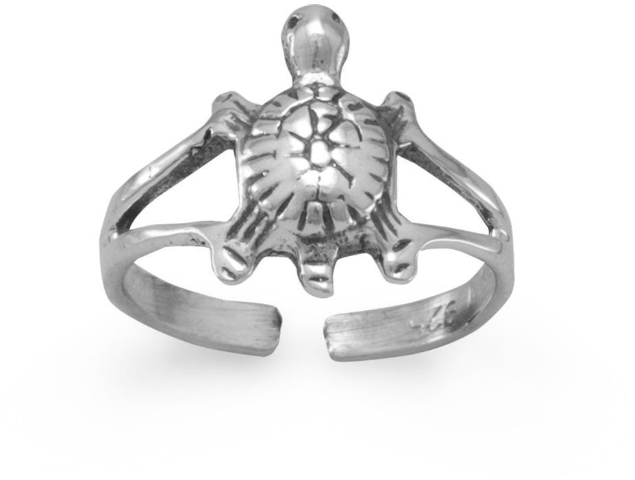 Oxidized Turtle Toe Ring 925 Sterling Silver