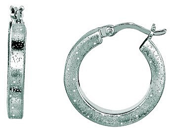 Silver Rhodium Plated Shiny Textured Round Hoop Earrings (BTAGFE286)