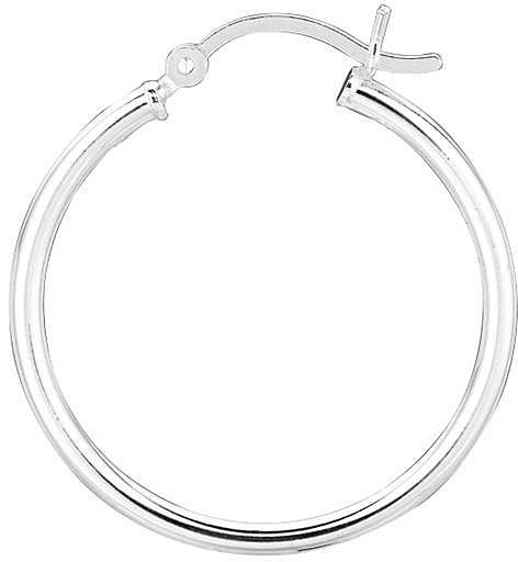 "Silver Rhodium Plated Shiny 2.0x25mm (0.08""x0.98"") Round Hoop Earrings"