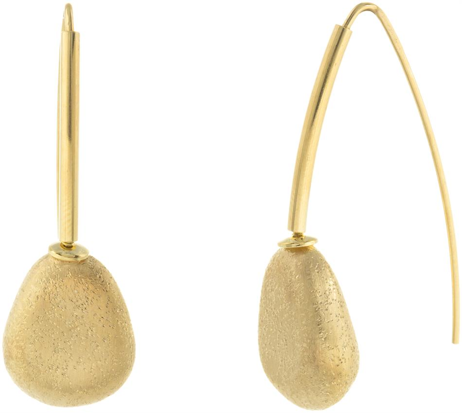 Athra Luxe - Gold Plated Sterling Silver Satin Textured Single Abstract Drop Earrings