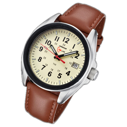 ArmourLite Tritium Watch - Captain Field Series Leather AL502-LBR - DISCONTINUED